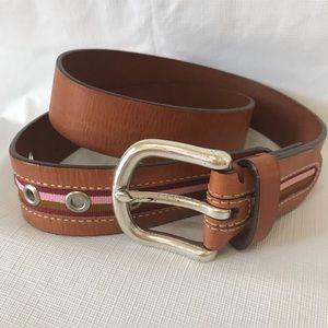 Fossil Brown Leather Belt Pink Stripe